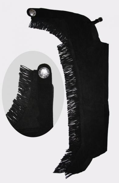 Schwarze Westernchaps Showchaps aus Leder Gr. XS-XL