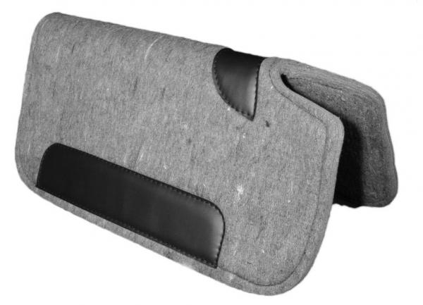 Filzpad Westernpad grau mit Widerristfreiheit und Lederbesatz