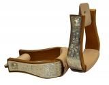 Holz Steigbügel mit graviertem Silberbeschlag