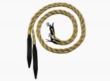 Poly Rope Split Reins mit Zügel Clips und Leder Popper