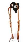 ALS TACK Show Kopfstück Harnessleder Einohr Rawhide mit Tassel - US Qualität