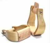 Western Holzsteigbügel gebogen mit hellem Leder